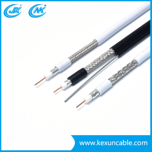 Copper/Copper Clad Steel Conductor RG6 CCTV CATV Cable with Steel Messenger Low Loss